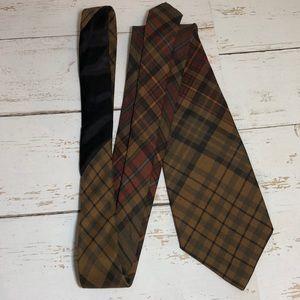 Ralph Lauren Polo Army Green/Brown Plaid Silk Tie